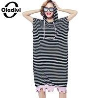 Oladivi Plus Size Mulher Vestuário de Moda Tarja Vestido Casual Manga Comprida Com Capuz Tops Camisas Femininas Tees Túnica Vestidos Feminios