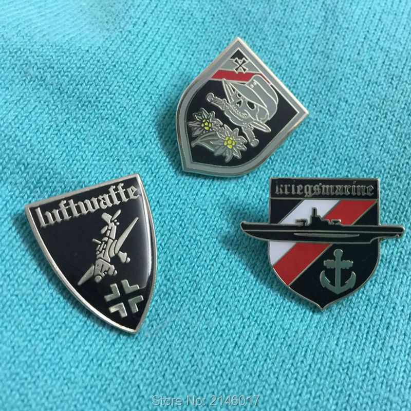 Miglior acquisto ) }}3pcs WWII Germany Army Lapel Pin Badge Edelweiss Sword Skull Crossed Insignia Soviet U