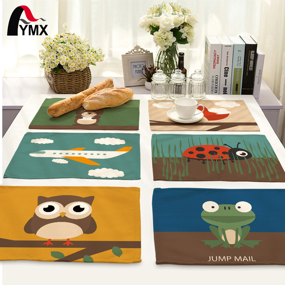 Owl Printed Table Napkins Serviette Table Mariage Home Dinner Polyester Table Mat Pad Cloth Napkins Wholesale Price Factory