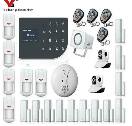 YoBang sécurité WIFI GSM sécurité à domicile alerte Protection à domicile système d'alarme GPRS télécommande vidéo IP caméra détecteur d'incendie de fumée