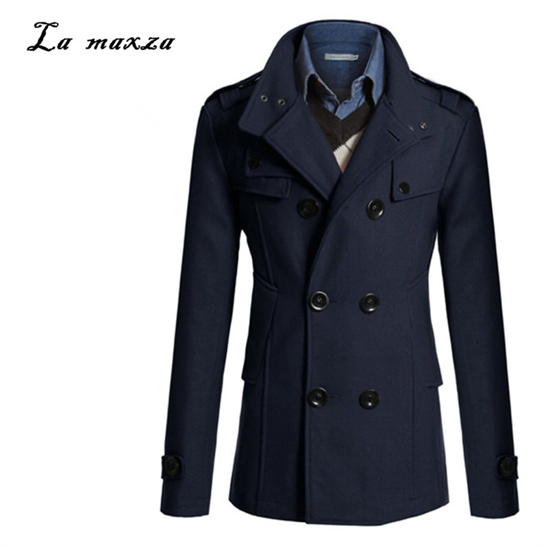 Dress Overcoats Wool Casual Winter Mens Plus-Size Fashion Slim Smart