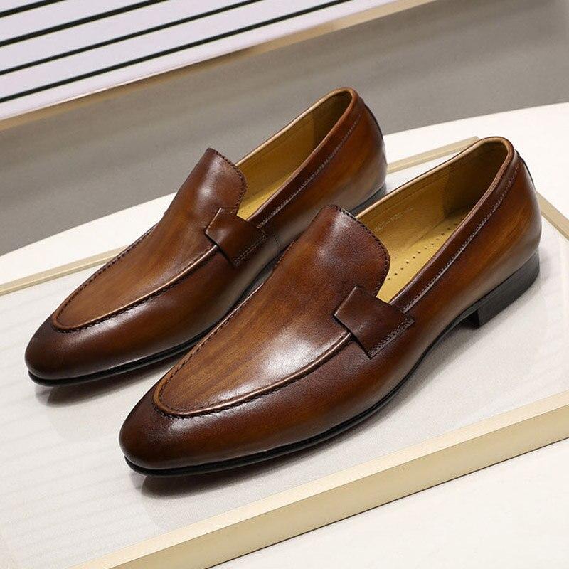 2019 ฤดูใบไม้ร่วงสไตล์ใหม่ Mens Loafers สำหรับงานแต่งงานเต้นรำสีดำสีน้ำตาลของแท้หนัง Slip บนรองเท้าธุรกิจสบายๆ-ใน รองเท้าทางการ จาก รองเท้า บน   1