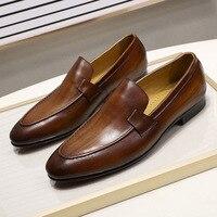 Herbst Sommer Stil Herren Loafer für Hochzeit Party Dance Schwarz Braun Echtes Leder Slip auf männer Kleid Schuhe Casual business
