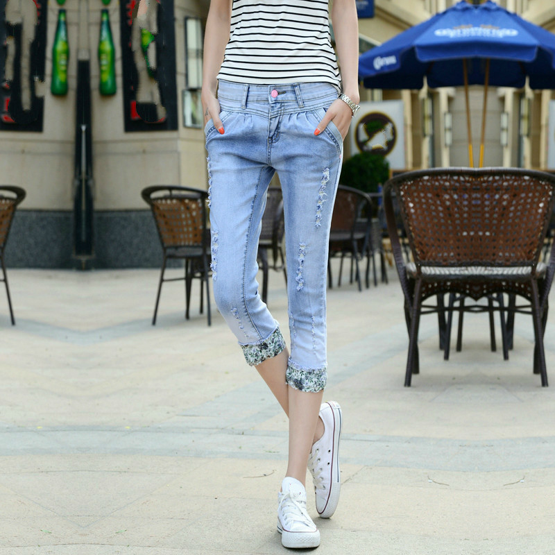 2019 Summer Stretch Ripped Hole Capris Jeans Women Calf Length Pencil Denim Pant Women 39 s Skinny Jeans High Waist Jeans Capri in Jeans from Women 39 s Clothing
