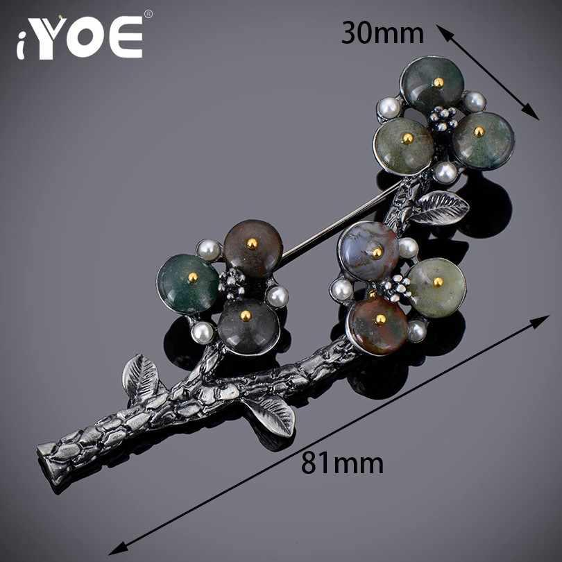 Iyoe Fashion Menawan Pohon Bunga Bros Vintage Gun Berlapis Disimulasikan Bros Mutiara Perhiasan Syal Kerah Pin untuk Wanita Hadiah