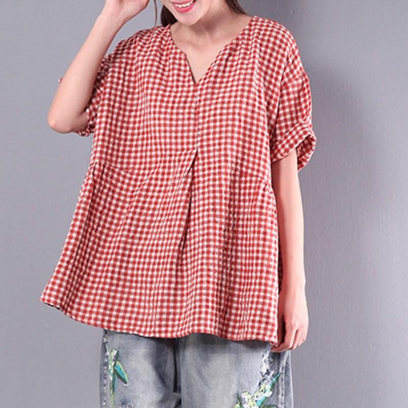 b0f8545a ZANZEA 2018 Summer Women Pleated V Neck Short Sleeve Check Plaid Cotton  Linen Oversized Top Loose Party Blouse Work Shirt Blusas-in Blouses &  Shirts from ...