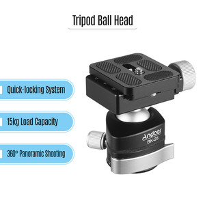 Image 2 - Andoer BK 25 Aluminium Alloy Tripod  BallHead Ball Head Mount Adapter with 1/4 inch or 3/8 inch screw MAX load 15kg/33lbs