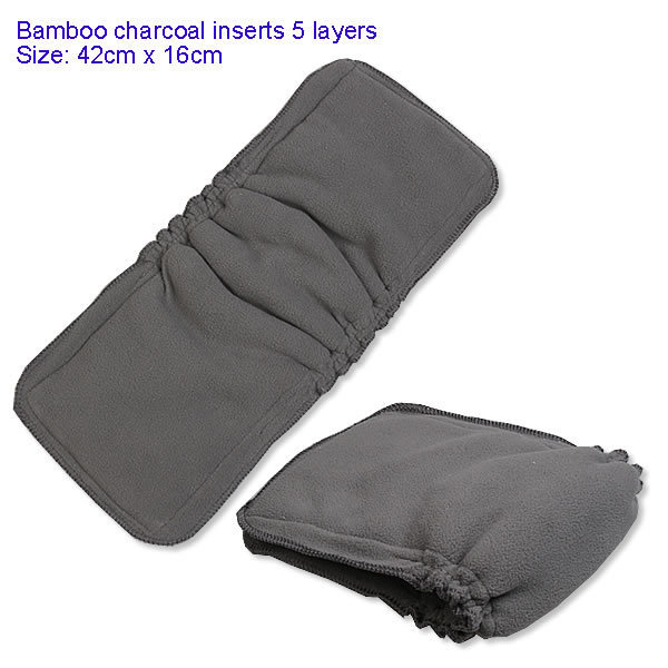 5-Layer Baby Bamboo Cotton & Bamboo Charcoal Diaper Inserts Infant Nappy Covers Draw-string Diaper Changing Pads Free Shipping