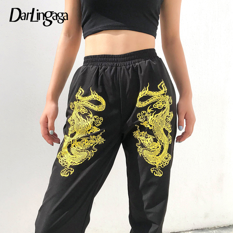 Darlingaga Streetwear Dragon Print Black   Pants   Women Joggers Hip Hop Elastic High Waist   Pants   Trousers   Capris   New Pantalon Femme