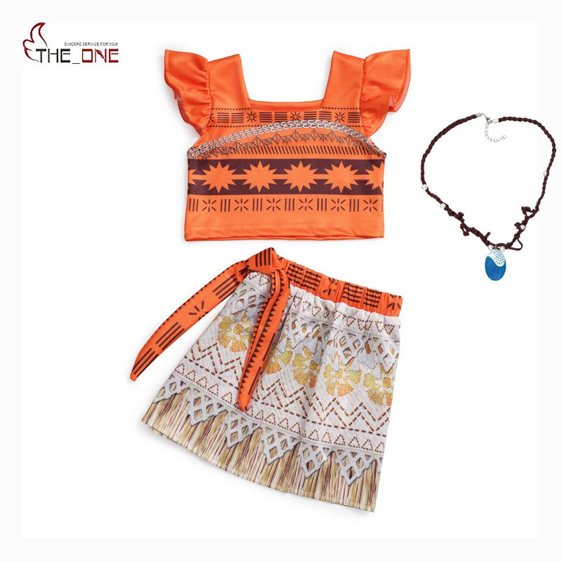 MUABABY Moana Girls Adventure Outfit Children Princess Cosplay Costume Kids Flying Sleeve Top and Dress 2 Piece Set Beach Suit movie princess moana costume for kids moana princess dress cosplay costume children halloween costume for girls party dress set