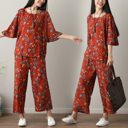 Summer Printed Cotton Linen Two Piece Sets Women Batwing Sleeve Tops And Wide Leg Pants Sets Suits Casual Loose Vintag Sets 2019 44