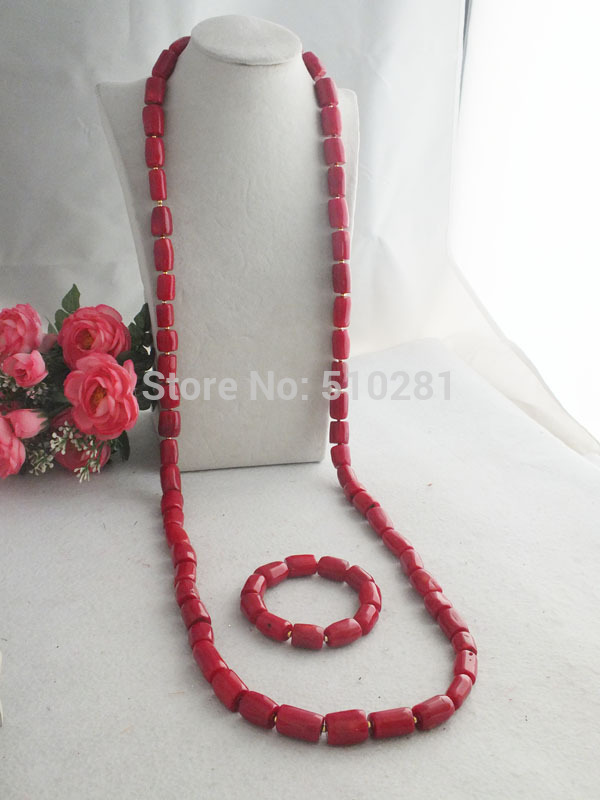 Nigerian Party Beads Necklace For Men, 48 Coral jewelry set LK-2349