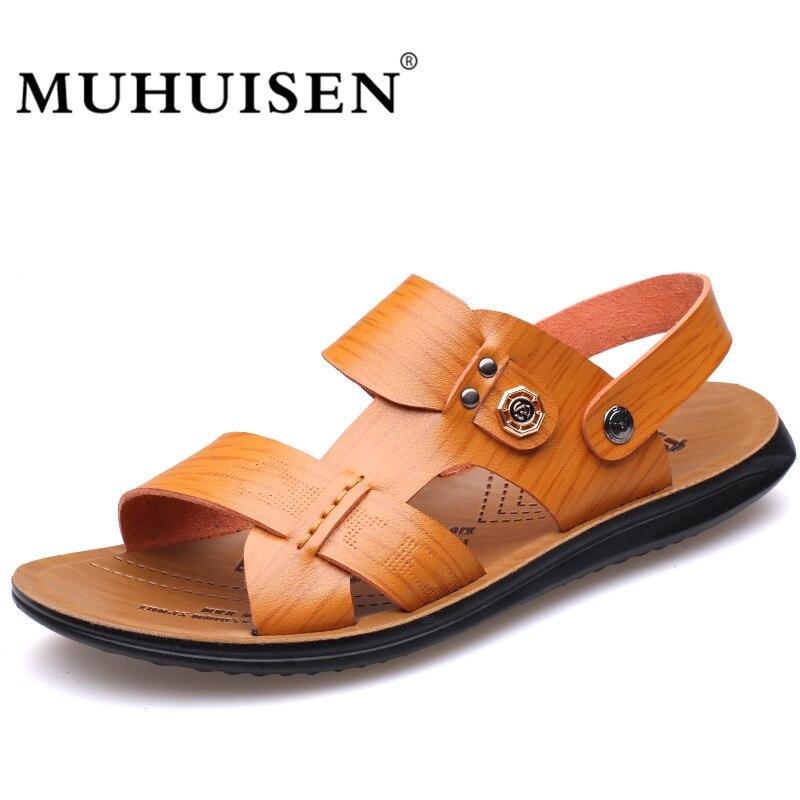 Muhuisen Leather Sandals Casual Men Slippers Summer Shoes Beach Flip Flop cheap price outlet sale K7FyZ