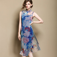 Chinese style fashion loose sweet ladies print silk perspective dress cheongsam slit tie long dress bottoming dress c27