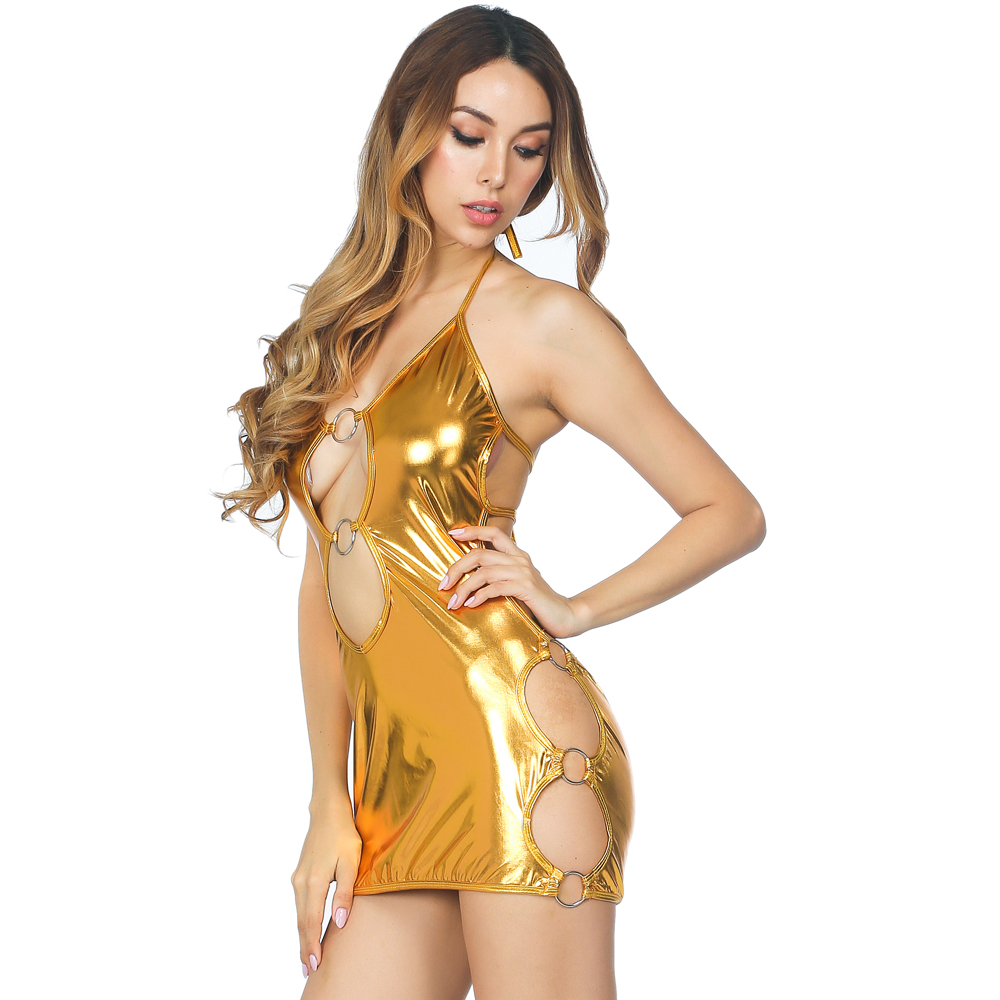 Women's Clothing Liberal Sheath Dress Pu Patent Leather Glitter Minifalda O-ring Hollow Out Wetlook Dres Halter Bandage Sexy Clubwear Open-front Babydoll Easy And Simple To Handle