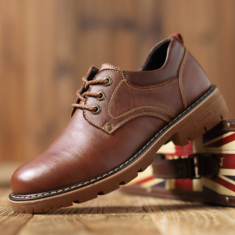 2019 Autumn New Men Martens Leather Shoes Brogue Casual Safety Shoes Men Genuine Leather Shoes Work Business Casual Sneakers