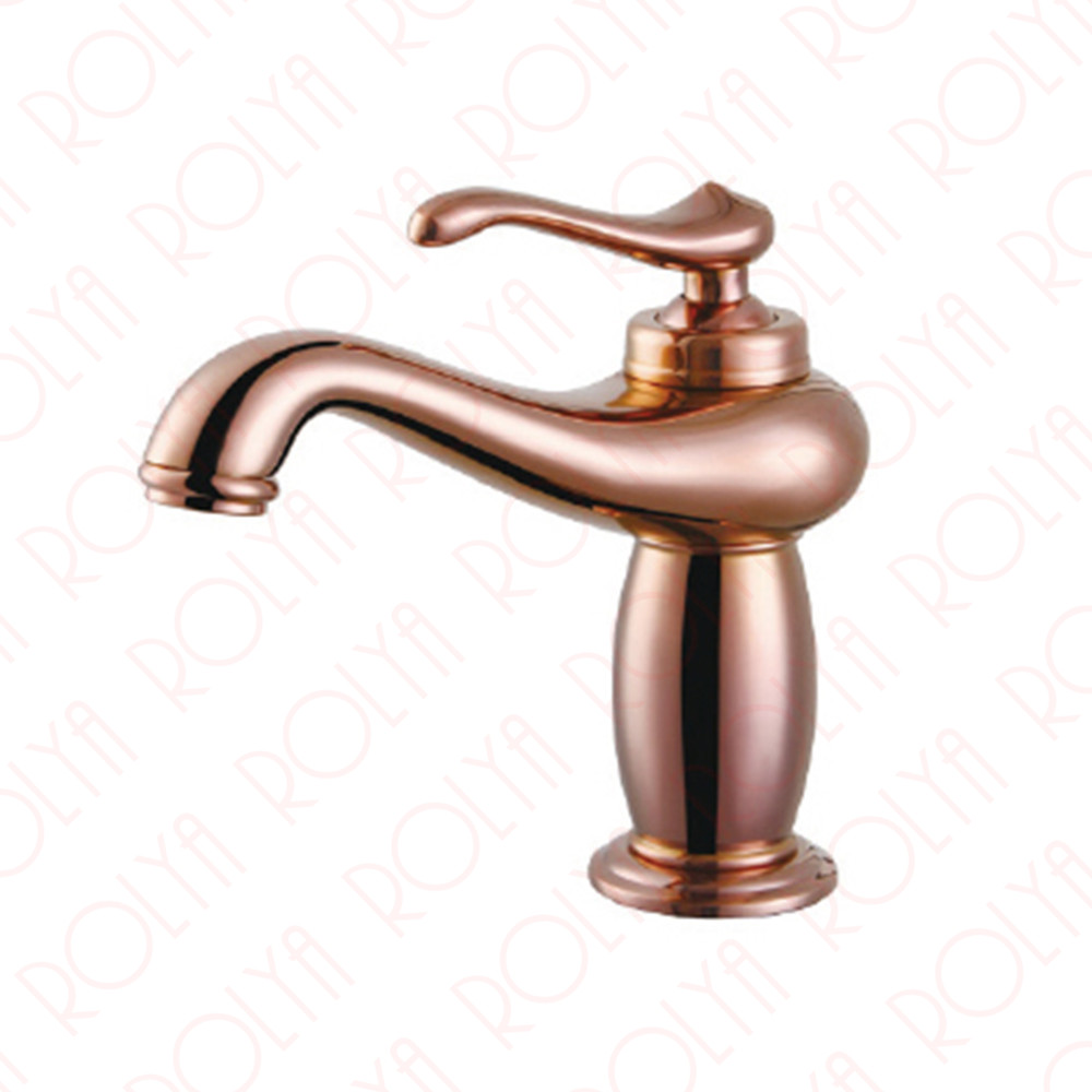2017 Wholesale Classic Solid Brass Single Hole Rose Golden Basin ...