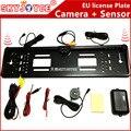 CCD HD câmera de visão traseira do carro câmera Europeia moldura da placa luz LED 170 câmera do IR com 2 estacionamento backup reversa sensor de