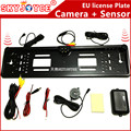 CCD HD rearview camera car European license plate frame camera Light LED 170 backup reverse camera IR with 2 parking sensor