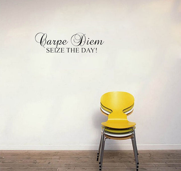 Seize The Day Art Murals Removable Self Adhesive Wall Sticker For Living Room Home Decor Life Quote Decals