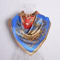 Azul Rojo Naranja Bufanda de Seda los 90*90 cm Cuadrado Grande Bufandas Wraps Señoras Del Verano Del Resorte 100% Seda de Mora del Mantón cachecois bufanda