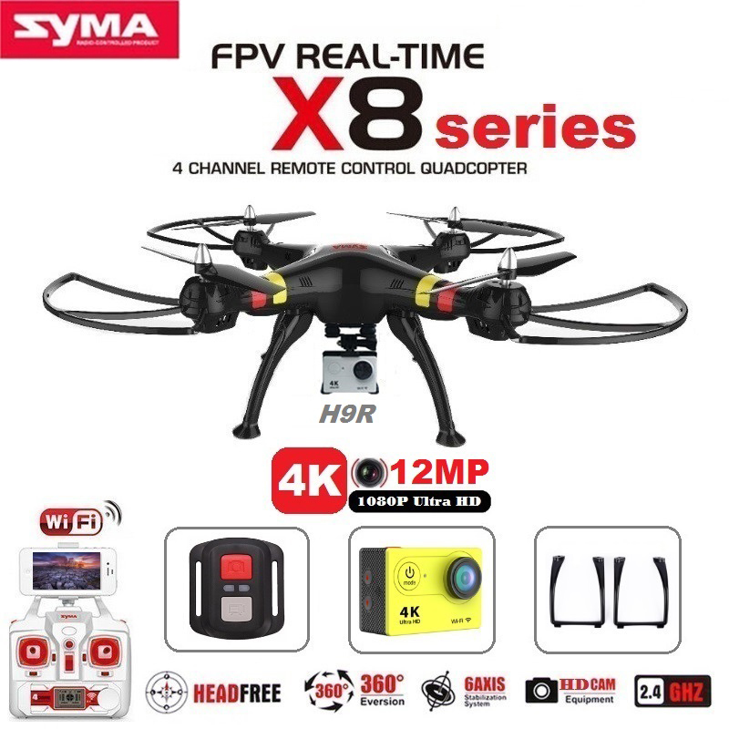 SYMA X8C X8G X8W X8HG X8 FPV RC Drone With H9R 4K Camera 1080p Ultra HD WiFi 2.4G 4CH RC Quadcopter Dron RTF RC Helicopter syma x8c 2 4g 4ch 6 axis rc quadcopter drone helicopter 2 mp hd camera with gift can hold gopro camera same as x8w x8g