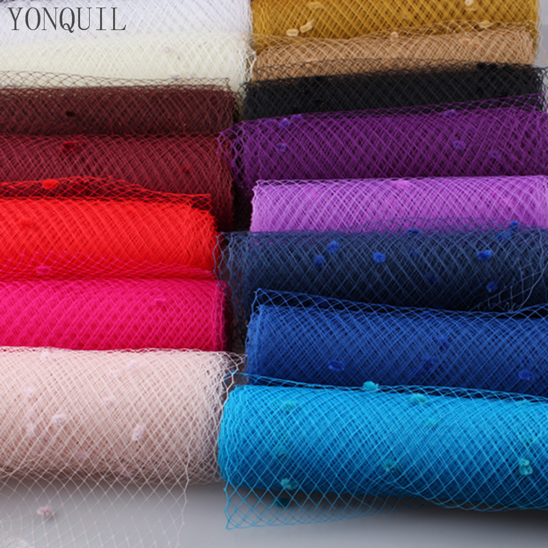 Multiple color mix dot birdcage veil 25CM Width millinery veils DIY Hair accessories hat bridal wedding netting party headwear