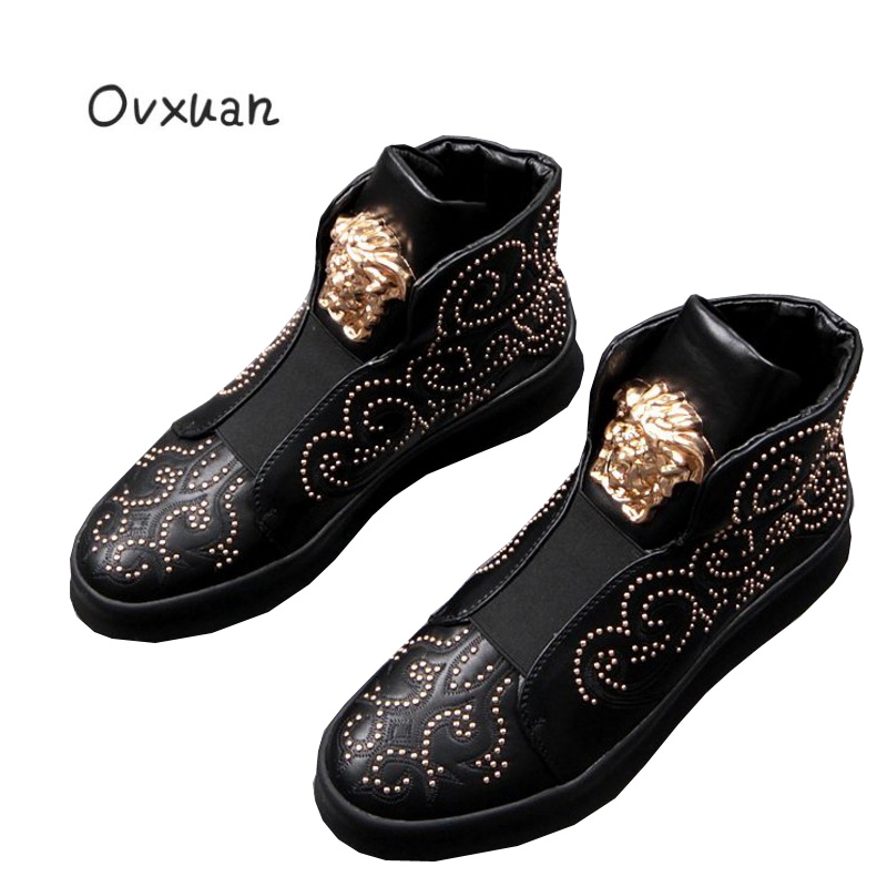 Ovxuan Italy Design Gold Metal Lion Face Men Ankle Boots Carved Leather Rivets Party Dress Shoes Men Flats Casual Ankle Shoes ovxuan metal skull buckle handmade men ankle shoes punk party dress loafers glitter bright sequins men flats casual rivets shoes