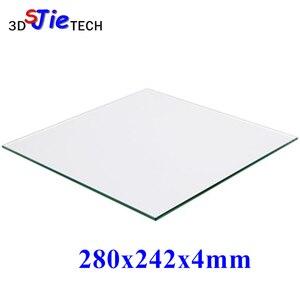 Placa de vidrio de borosilicato 100% para impresora 3D de 280x242x4mm para DIY Flyingbear P905X placa de construcción de impresora 3D