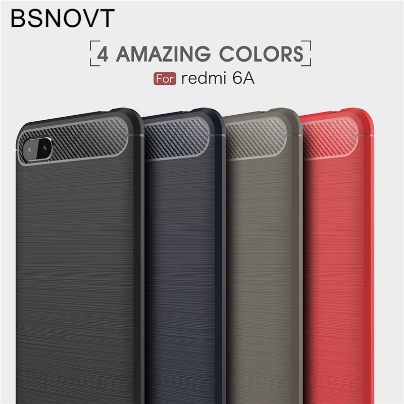 BSNOVT For Xiaomi Redmi 6A Case Cover Shockproof Silicone Brushed Phone Back Funda 5.45