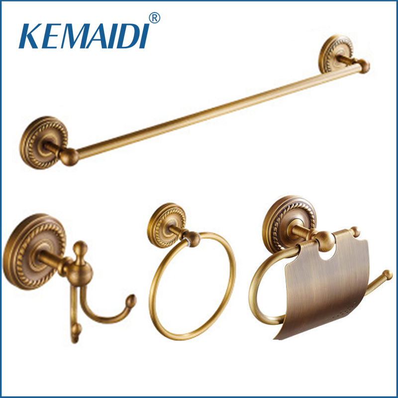 KEMAIDI Antique Brass Bathroom Accessories Robe hook,Paper Holder,Towel Bar Towel Ring Bathroom Sets kemaidi 3 pcs antique brass