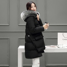 Зима новый перо мягкий Пальто Девушки длинные свободные меховой воротник пальто мыса толстые женские хлопка-ватник нерегулярные пальто