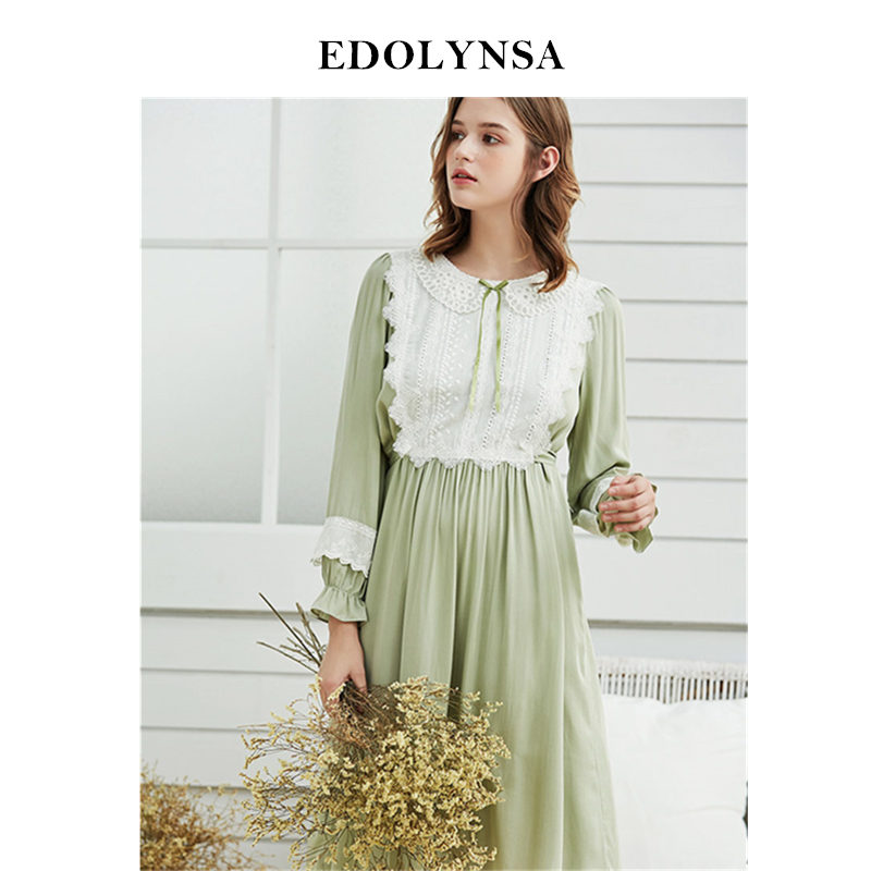 Light Green Victorian Lace Patchwork Mid Calf Length Night Dress Elegant Sleepwear Women Autumn Home Wear