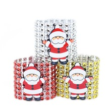 10pcs Santa Claus Rhinestone Napkin Rings Holders for Merry Chirstams Holiday Party Dinner Banquet Reception Table Decorations цена