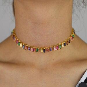 Image 3 - 2019 wysokiej jakości rainbow bagietka cz kolorowe geometryczne wiszące choker naszyjnik kolorowe rainbow Gold filled kobiety moda prezent