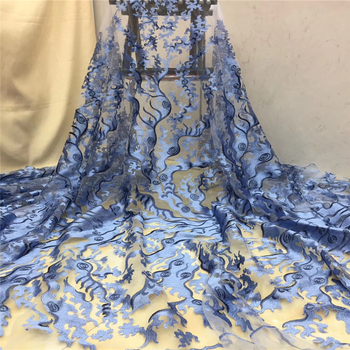 Tollola New Arrival African Tulle Lace Fabrics High Quality 2019 Sky blue Lace Fabric With Sequins For Fashion Nigerian Lace