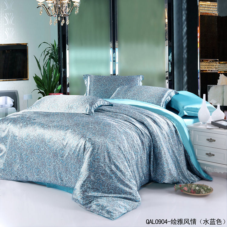 Aqua Blue Paisley Mulberry Silk Bedding Set For King Queen