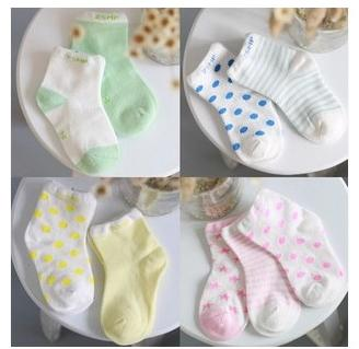 Baby boys girls 8 candy color striped dot floral cotton socks 0-3 years old kids Children socks 20pcs=10 pairs/lot mix
