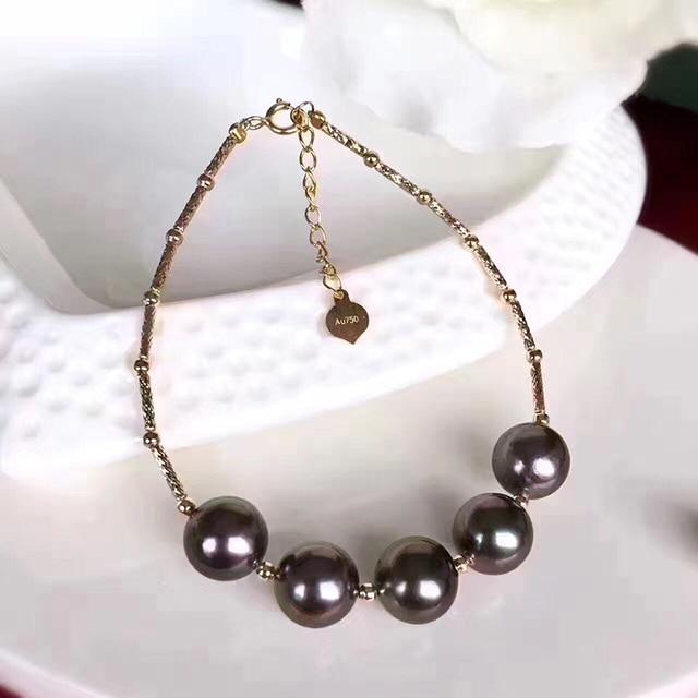 Sinya Natural tahitian pearls 18k gold bracelet for women girl Mom girl lover length 16+2cm can adjustable pearl diameter 8-9cm 1