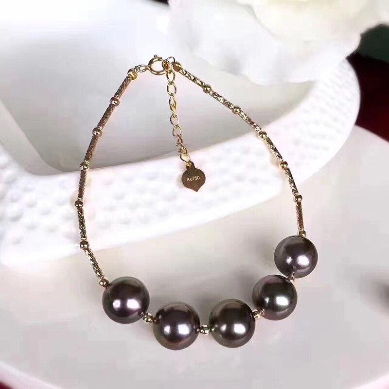 Sinya naturel perles de tahiti 18 k bracelet en or pour femmes fille maman fille amant longueur 16 + 2 cm peut réglable perle diamètre 8-9 cm