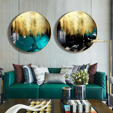 Crystal Abstract gold foil metal frame living room decorative painting luxury modern Nordic abstract paintings Entrance mural