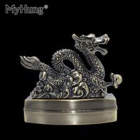 Creative Metal Car Ashtray Retro Dragon Cigarettes Home Decoration Furnishing Ash Storage Tray Truck Auto Portable