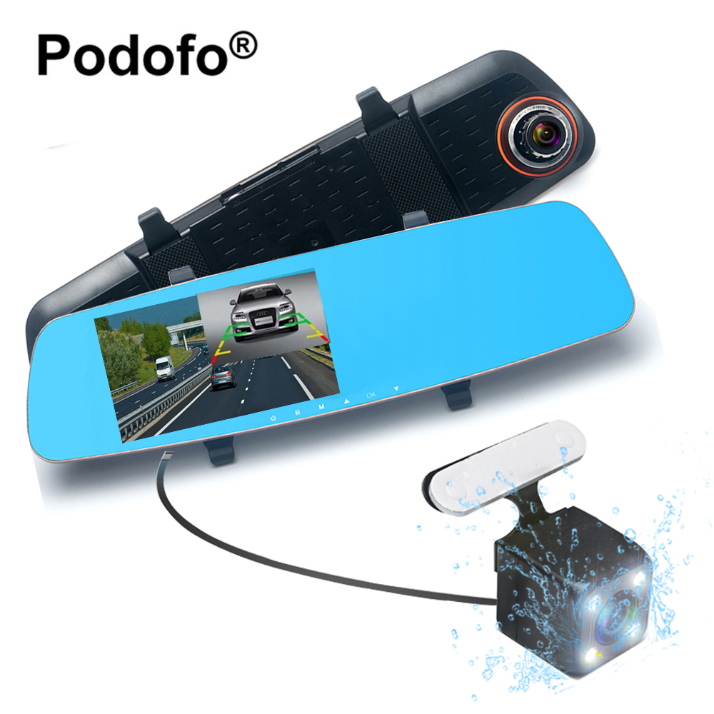 Podofo 5.0 Inch Dual Lens Car Camera DVR Rear View Mirror Video Recorder 170 Degree Wide Angle Superior Night Visions Dash Cam 2 7 inch r310 tft lcd dual 2 lens car dvr video recorder