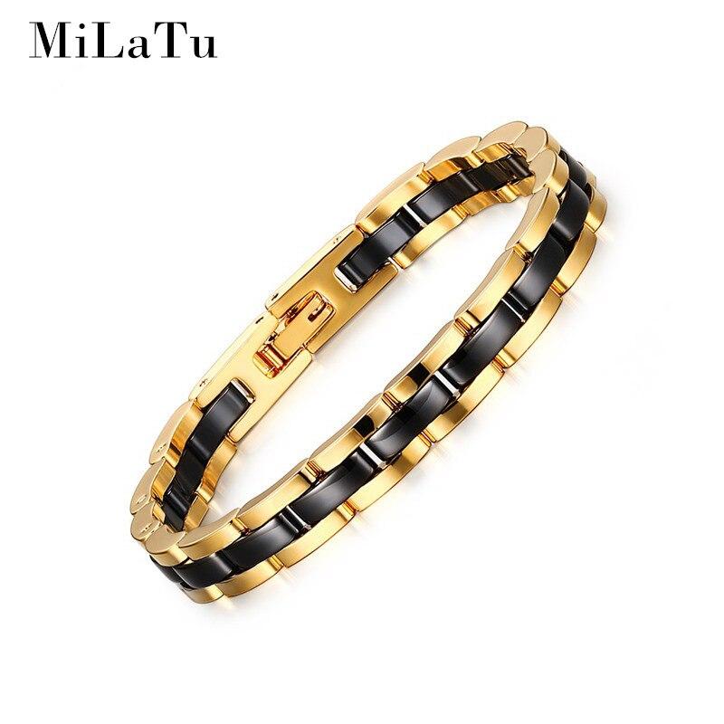 MiLaTu Fashion Gold Plated Men And Women Tungsten Black Ceramic Bracelet Chain Link Bracelets High Quality