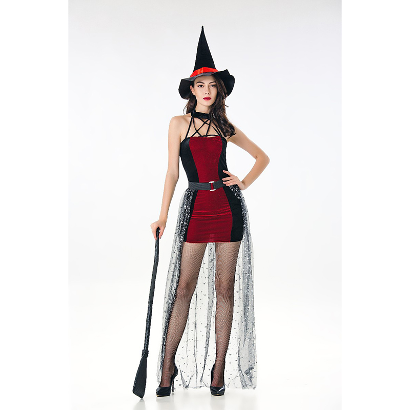 2018 Women Cosplay Costume Halloween Black Dress Sexy Witch Vampire Costume Adult Women Gothic Masquerade Party Carnival