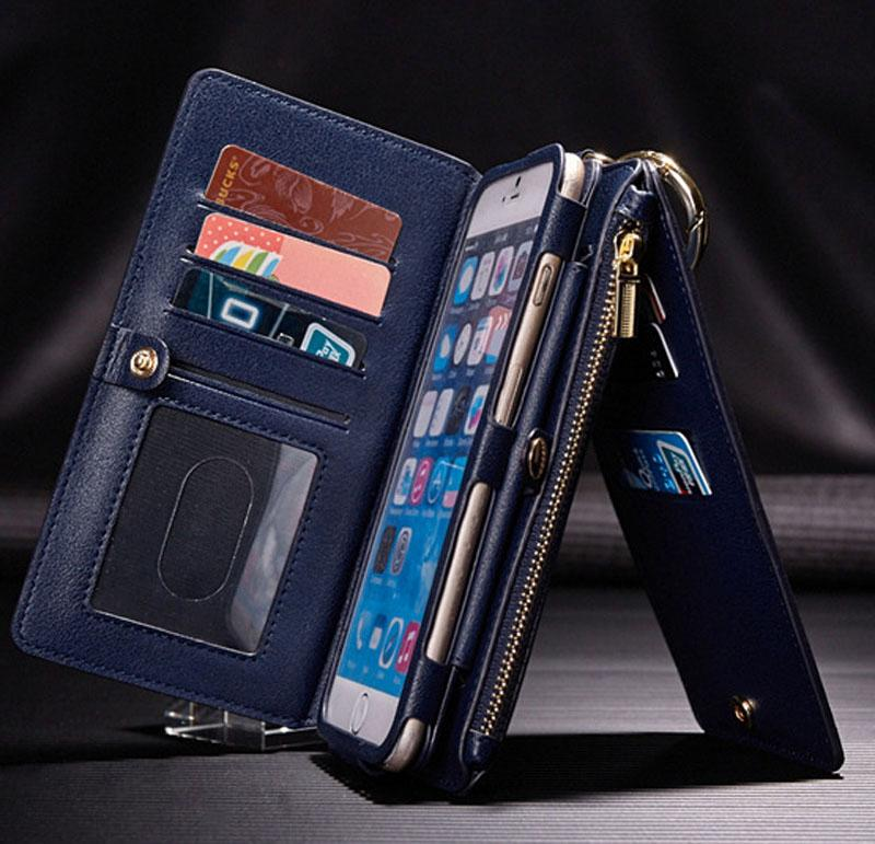 Luxury Genuine Leather Wallet Flip Organizer Phone Case Cover for iPhone 6/6s