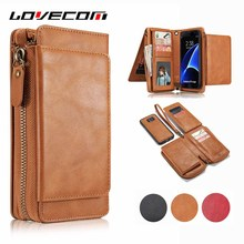 LOVECOM Retro 2 in 1 Multifunction Zipper Leather Wallet Flip Case For Samsung Galaxy S8 Plus S5 S6 S7 Edge Card Holder Cover