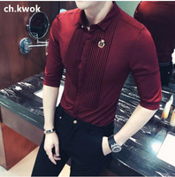 CH.KWOK Three Quarter Mens Formal Business Tuxedo Shirts Black White Burgundy Summer Fashion Camisa Social Masculina 5XL 4XL 3XL