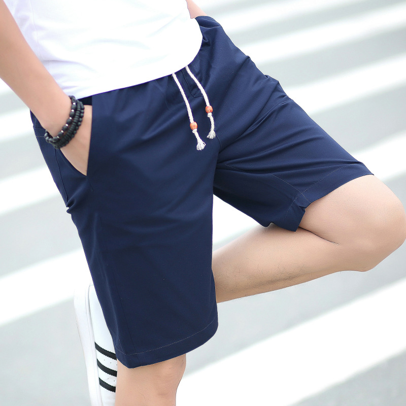 Drawstring Men Shorts Cotton Summer Beach Pocket Mid Waist Short Pants Shorts Homme Boardshorts Sweatpants Mens Clothing ...