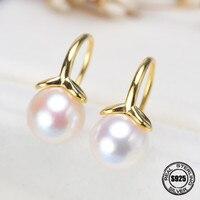Pearl jewelry natural freshwater pearl earrings for women 925 sterling silver ,new trendy Stud Earrings Give Free Earring bag